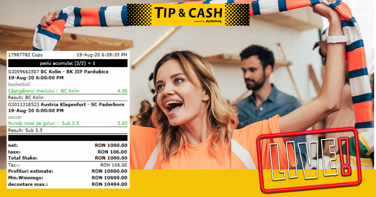 Castig TIP&CASH eveniment live