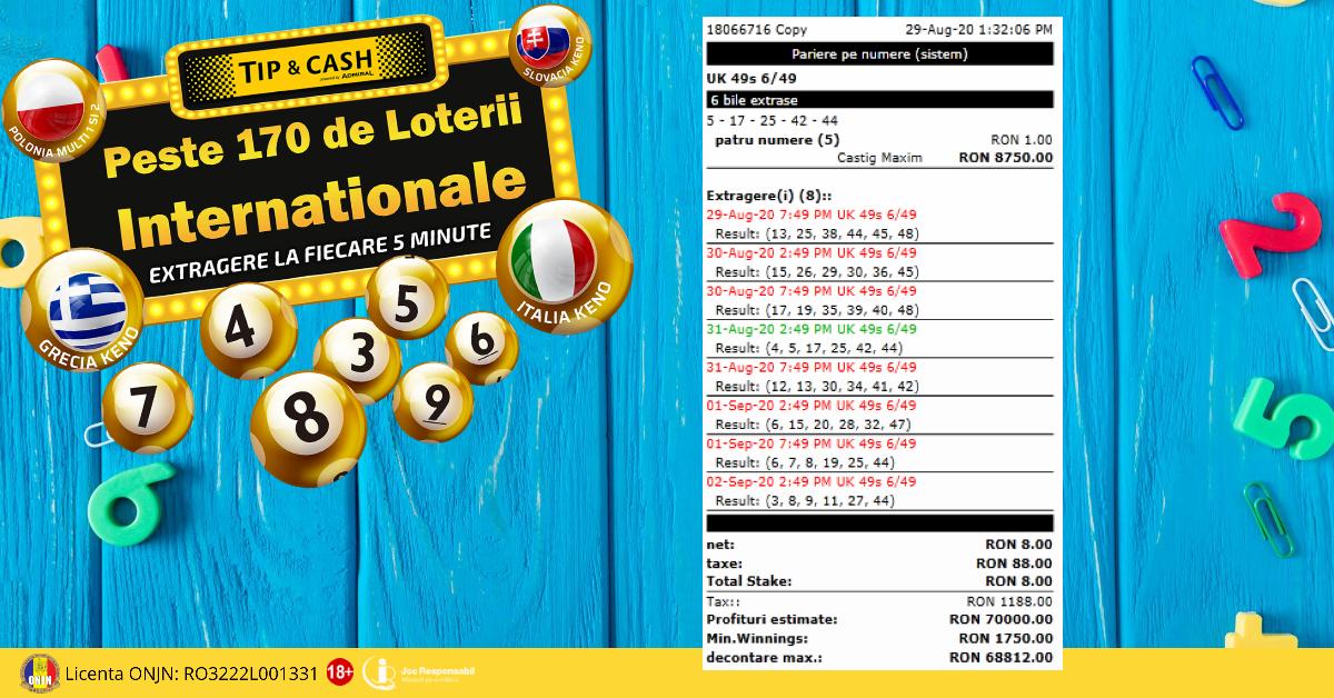 Bilet castigator loterii TIP&CASH